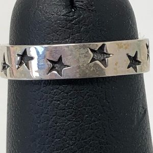 Tiny star ring band sterling silver